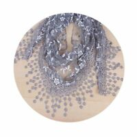 Floral Ladies Shawl Lightweight Sheer Print Lace Triangle Fashion Scarf