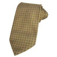 Canali Gold Tie Geometric Pattern 100% Silk Luxury Menswear Made in Italy