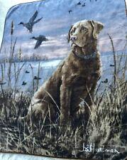 "JOS HAUTMAN LABRADOR RETRIEVER PLUSH THROW BLANKET 60X48"" Hunting Dog duck geese"