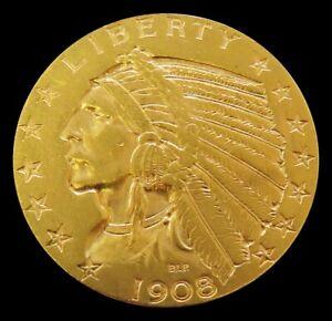 1908 D GOLD USA $5 DOLLAR INDIAN HEAD HALF EAGLE HIGH GRADE COIN DENVER MINT