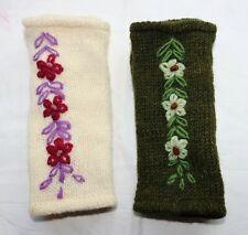 Handschuhe Pulswärmer grün weiß Blumen Schafwolle 100% Wolle Fleece Futter Nepal