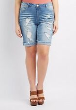 NWT Charlotte Russe Plus Size Destroyed Denim Bermuda Shorts size 18