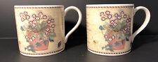 Pair Of Wedgwood Porcelain Mugs, Sarah's Garden Queen's Ware 1997, Recipe