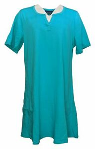Denim & Co. Beach French Terry A-Line Cover-Up Dress-Aqua-Large-NEW- A305400