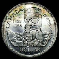 """1958 CANADA """"BRITISH COLUMBIA"""" SILVER DOLLAR HIGH QUALITY COLOR TONED COIN #3"""