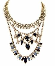 Aelia Cluster Gem Statement Choker Layered Necklace turquoise & navy diamante