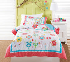 Girl's FLORAL SPOT Butterfly Appliqued Emb DOUBLE Size Quilt Doona Cover Set
