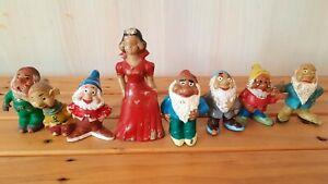 Vtg WALT DISNEY PRODUCTIONS BISERKA ZAGREB SNOW WHITE & SEVEN DWARFS Rubber Toys