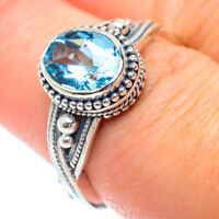 Blue Topaz 925 Sterling Silver Ring Size 7.5 Ana Co Jewelry R53889