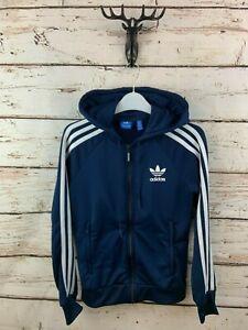 ADIDAS Womens Hoodie Jacket 8 Blue Polyester Originals