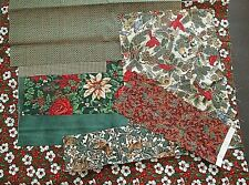 Christmas Cotton Fabric SCRAP BUNDLE remnant lot red flower deer poinsettia 3.5