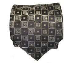 Knightsbridge Polyester Tie Black with Olive Squares