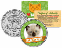 SIAMESE Cat JFK Kennedy Half Dollar US Colorized Coin