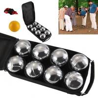 8 FRENCH BALL STAINLESS STEEL BOULES SET PETANQUE OUTDOOR CARRY CASE GARDEN GAME