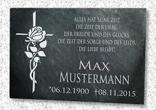Gedenkplatte Grabstein Gedenktafel Schiefer Wunsch Gravur Grabtafel Rosenkreuz
