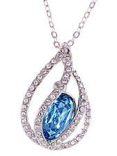 Silver Blue Zircon Tone Crystal Elements Orb Cage Rhinestone New Necklace