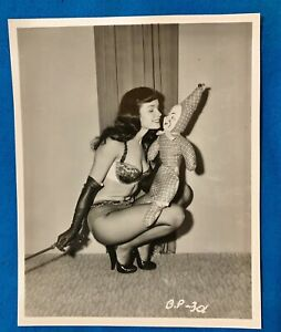 Bettie Page Original Snap Irving Klaw - Bettie With Crop Taunting Clown Doll