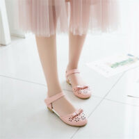 New Womens Ankle Strap Flats Mary Jane Bowknot Oxfords Lolita Round Toe Shoes