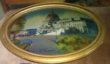 Reverse Painting Picture of US Capitol Building with Convex Glass