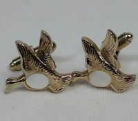 Vintage Cuff Links DUCKS gold tone with Mother of Pearl Oval inset Bullet clasp