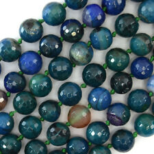 """10mm faceted blue green agate round beads 14"""" strand"""
