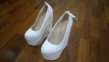 Pair White Wedding Heels (160mm - (16cm)) size 34- Used