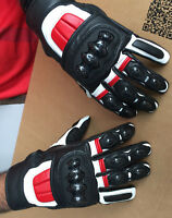 New Mens Black White Red Cowhide Leather Short Motorcycle / Motorbike Gloves