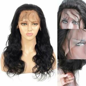 New Fashion Sexy Long Natural Black Wavy Lace Front Human Hair Wig Real Hair