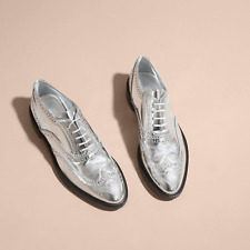 Burberry Men's Silver Metallic Leather Wingtip Brogues Shoes 39,5 US 7