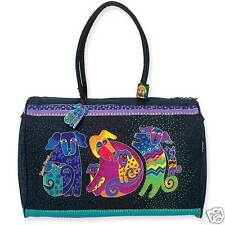 Laurel Burch Dog & Doggies Papillion Dogs Black With Brights Travel Tote Bag NWT