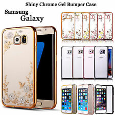 Rose Gold Shockproof Soft Gel Bling Case Bumper Cover For Samsung Galaxy Phones