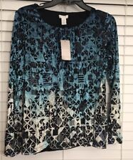 Women's CHICOS Ombre Burnout Shirred Scarlett Top Size 0 NWT