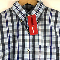 IZOD Mens Long Sleeve Shirt Size Small Midnight Blue Navy Plaid Button Down NEW