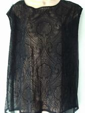 BLACK SLEEVELESS TOP BY DOROTHY PERKINS, SIZE 16