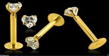 14ct Gold 3mm Heart Gem Earring Tragus Labret Lip Chin Piercing Barbell 16g 8mm