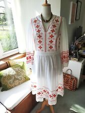 BODEN Midi Dress 16 18 White With Red Embroidery Lined