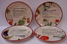 "Williams Sonoma ITALIAN RECIPES 8-5/8"" Salad Dessert Plates SET OF FOUR"