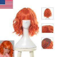 Women Fashion Bob Wig Lolita Curly Wavy Orange Bangs Cosplay Hair Party Wigs