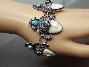 Vintage 925 Sterling Silver Balinese Goddess Face Blue Topaz Turquoise Bracelet