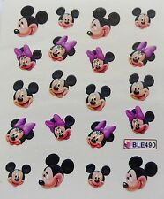 Nail Art Glitzy Mickey & Minnie Purple Bows Girl Nail Water Decal Sticker 490