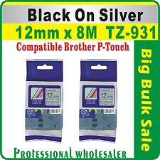 12mm x 8m  Brother Black on Silver CompatibleTZ-931 P-Touch Laminated Label Tape
