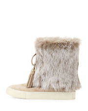 TORY BURCH ANJELICA SNEAKER BOOT FUR TRIM DARK KNOT BEIGE SIZE 8 NEW IN BOX!	 TO