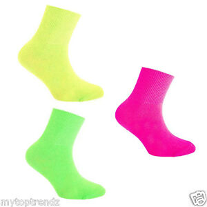 Kids Boys/ Girls Dance Ankle Socks Bright Plain Neon Colours Fashion Ankle High