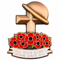 Remembrance Day All Gave Some Poppy Helmet Cross Metal Lapel Pin Badge