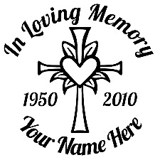 """in loving memory of decal - cross -Christ - custom text 6"""" multiple colors"""