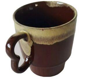 Vintage Mug Cup Drip Glaze Stackable Retro Coffee 1970s  Dark Brown Tan Drip