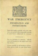 War Emergency Information Leaflet The Blitz World War II 1939-1945 Home Front
