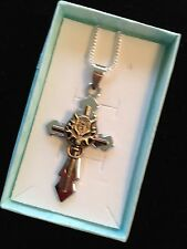 Stainless Steel Cross Pendant Sterling Silver Necklace
