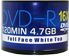 50 x Aone 16x White Full Face Printable Blank DVD-R Discs 4.7GB 120mins Shrink