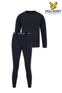 Lyle & Scott Stanley Pyjama Loungewear Top & Trousers Black Medium & Large